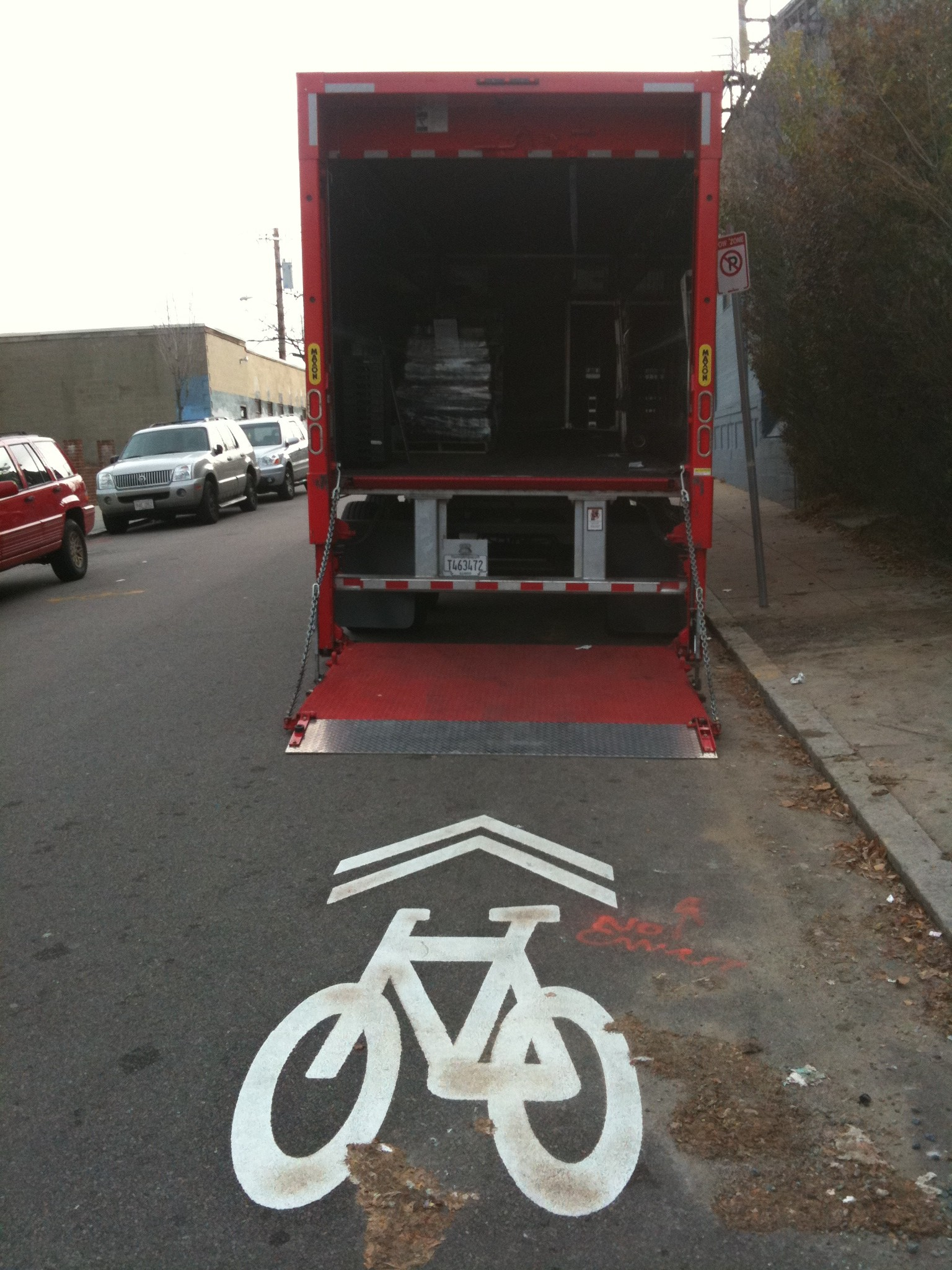 sharrow into truck
