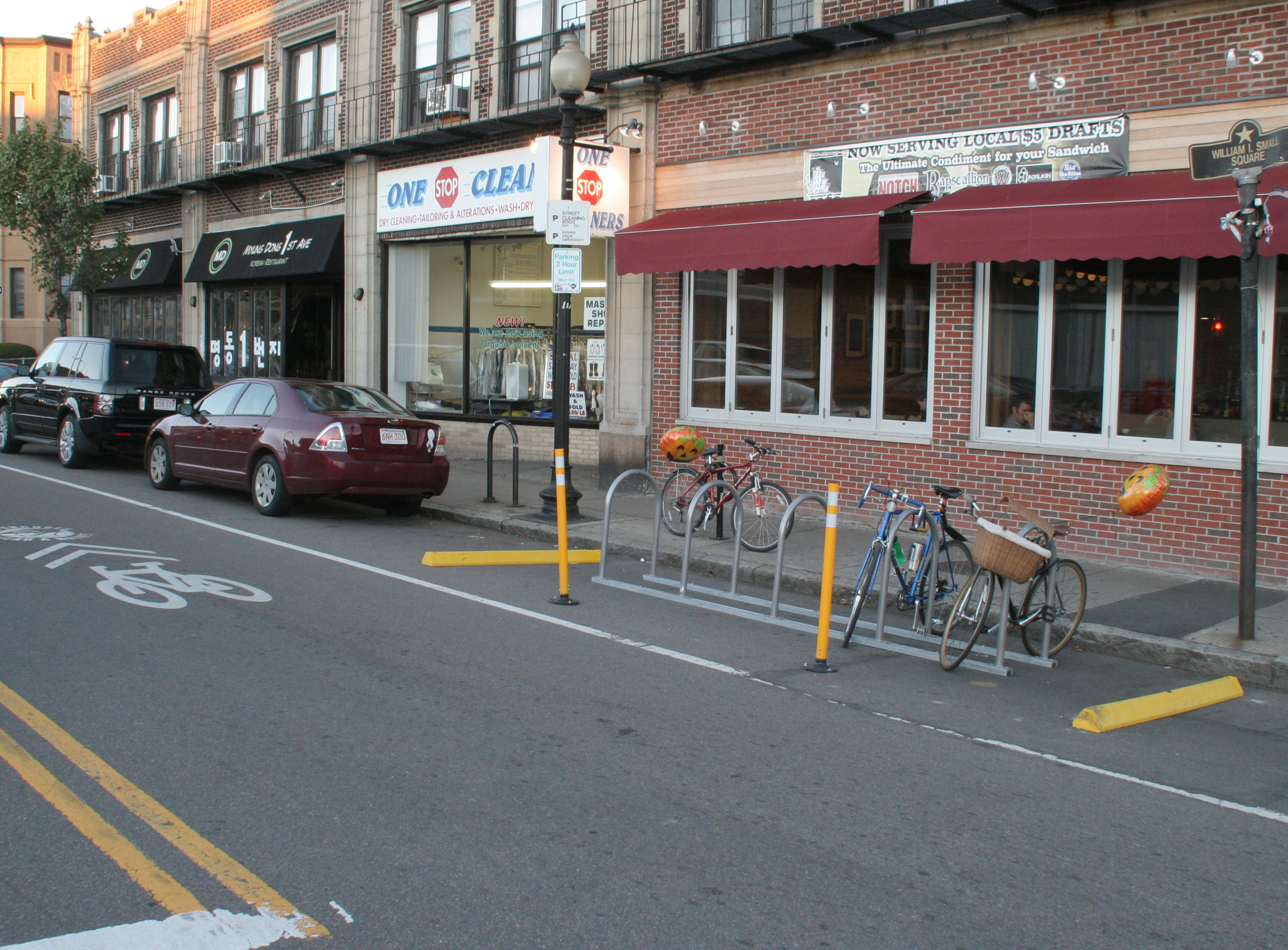 bike corral space on Harvard Ave